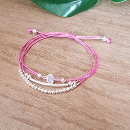 KELSO rose - Bracelet strass cordon réglable - 50%