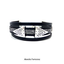 Bracelet ALANO cuir, effet sable gris