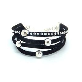 Bracelet mini manchette 4 liens perles éparpillés dans les tons noirs et argentés