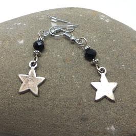 Boucles d'oreilles ORION, leur étoile et leur perle noire