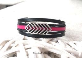Bracelet LAGO cuir et chevrons rose et noir...