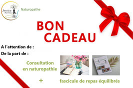 BON CADEAU - CONSULTATION EN NATUROPATHIE (physique) + FASCICULE DE REPAS AU CHOIX