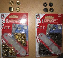 (0,61 € / Stück)   10 Druckknöpfe 15mm Farben Gold & altmessing Ringfeder mit Werkzeug