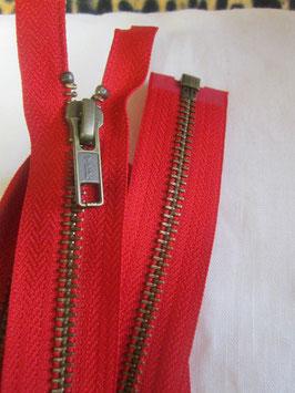 Teilbaren Metall Reißverschluß von YKK Rot 80 cm