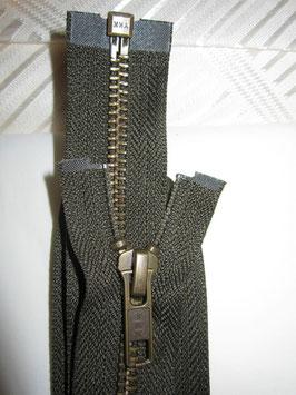 Teilbaren Metall Reißverschluß von YKK Dunkeloliv 80 cm