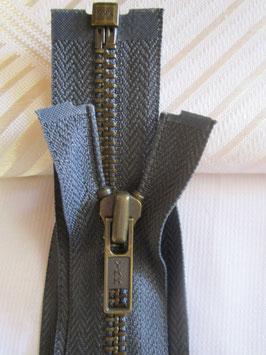 Teilbaren Metall Jacken Reißverschluß Farbe : Dunkelgrau von YKK 80 cm