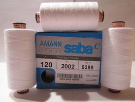 (0,26€/100m) 5 x 1000 m Amann / Saba Nähgarne Stärke 120 Rein - Weiß 2002