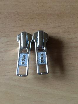 (2,25 € Stück) 2 Schieber YKK für 5 mm Metall Reißverschlüsse Silber YKK S 99
