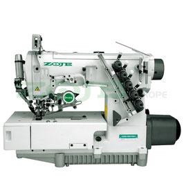 ZOJE ZJ2500A-156M-BD-D3 SET 3-Nadel Flachbett Interlockmaschine (Überdecknaht) mit elektromagnetischem Fadenabschneider und eingebautem AC Servo Motor - komplette Nähmaschine