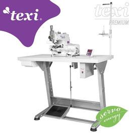 TEXI X PREMIUM EX Knopfannähmaschine mit elektronischer Auswahl der Stichanzahl sowie eingebautem AC Servo Motor