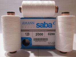 (0,26€/100 m) 10 x 1000 m Marken Nähgarne von Amann Saba Stärke 120 Weiß 2000