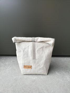 Lunchbag mittelgross Leinen roh, innen mintgrau-weiss