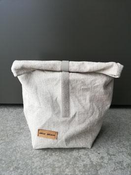 Lunchbag mittelgross Leinen roh, innen sand-weiss