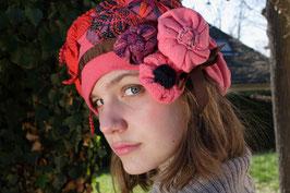 Béret fleurs et crochet
