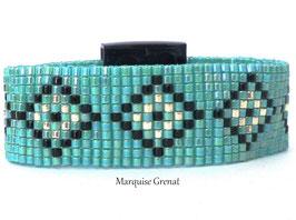 Bracelet tissé losanges turquoise noir argent