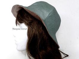 Chapeau réversible coton enduit métallisé vert amande rose