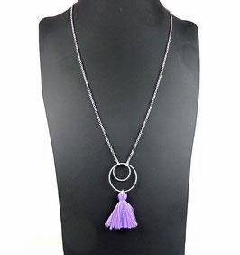 Collier chaîne argent 925 pendentif pompon violet