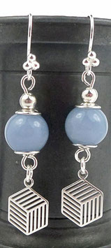 Boucles d'oreilles en argent bleues et angélite, pierre de gemme, graphiques