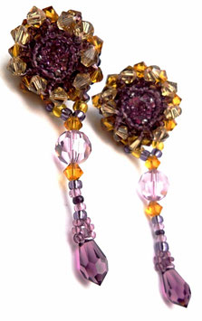 Boucles d'oreilles brodées à clous en argent, violet prune topaze, rétro