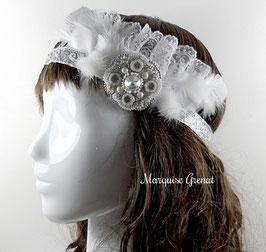 Headband mariage blanc argent dentelle, plume, fourrure, deux en un, broche