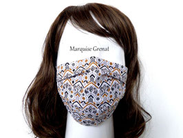 Masque adulte coton Oeko-tex graphique gris noir moutarde blanc