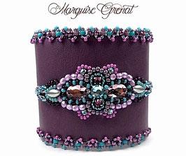 Bracelet manchette cuir violet brodé cristal Swarovski améthyste et bleu aqua