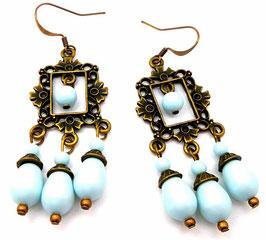 Boucles d'oreilles à chandeliers, bronze et bleu pastel en laiton et cristal, baroques