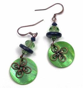 Boucles d'oreilles bohèmes vert péridot bleu marine cuivre