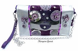 Pochette à rabat brodé gris argent prune violet glam'chic haute couture