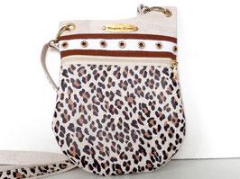 Besace bandoulière liège blanc et léopard