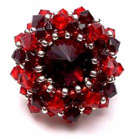 Bague brodée créateur ronde ajustable en argent cristal Swarovski rouge