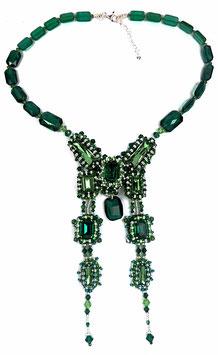 Collier brodé vert émeraude, érinite, péridot en cristal Swarovski et argent, néo baroque