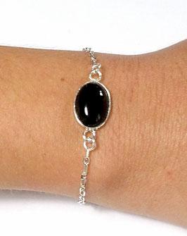 Bracelet en argent et cabochon en onyx noir ovale, pierre de gemme