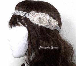 Headband brodé blanc argent, soie Shibori, dentelle, cristal pour mariage