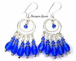 Boucles d'oreilles à chandeliers en argent, bleu saphir, boho chic