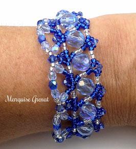 Bracelet créateur tissé de perles, bleu saphir et argent massif, cristal Swarovski, baroque