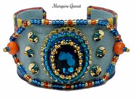 Braclet manchette créateur brodé bleu orange hippie chic