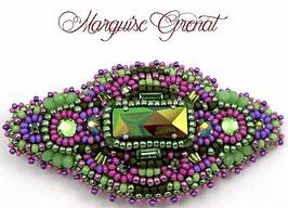 Barrette brodée camaïeux de verts et violets, néo baroque