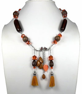Collier marron, orange, argenté, le chant des oiseaux, boho