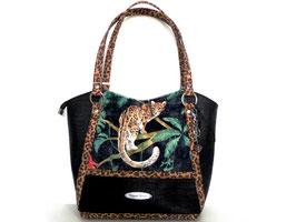 Léo sac à main en liège de luxe noir léopard et velours