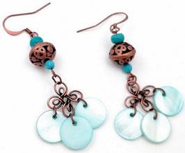 Boucles d'oreilles boho gipsy turquoise cuivre en nacre