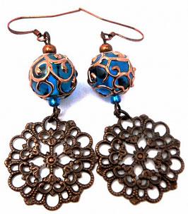 Boucles d'oreilles estampes rétro chic bleu saphir cuivre