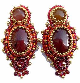 Boucles d'oreilles brodées ethniques couleurs d'automnes, pierres fines