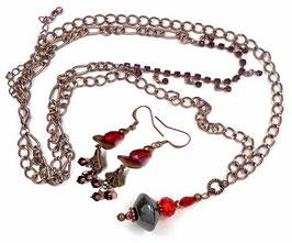 Parure fantaisie rétro vintage cuivre rouge, collier boucle d'oreilles