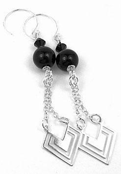 Boucles d'oreilles en argent noires, onyx et cristal Swarovski, ethniques chics