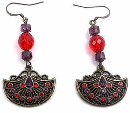 Boucles d'oreilles bronze rouge violet, laiton cristal verre, pendants à strass demi cercle, hippie chic