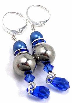 Boucles d'oreilles dormeuses bleu saphir laiton argenté, glamour