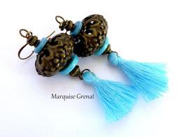 Boucles d'oreilles bohèmes bronzes bleues à pompons