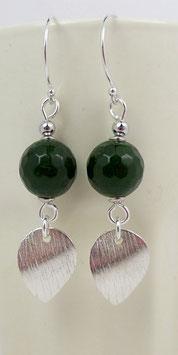 Boucles d'oreilles en argent et émeraude pierre précieuse, sequins gouttes en pendants