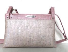 Triple sac compact en liège rose nacré gris perle